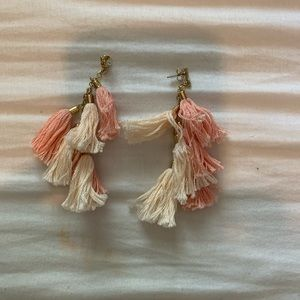 Pink and white earrings, new